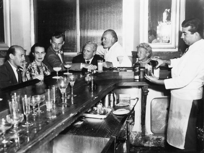 Spencer Tracy, Ernest and Mary Hemingway, and others at La Florida, Havana, Cuba, circa 1955. Photograph in the Ernest Hemingway Photograph Collection, John Fitzgerald Kennedy Presidential Library and Museum, Boston.